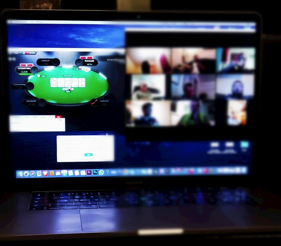 playing online poker with video conferencing